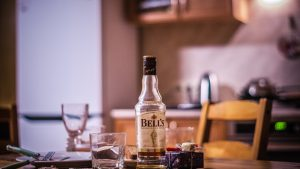 Empty alcohol bottles indicate alcohol problems